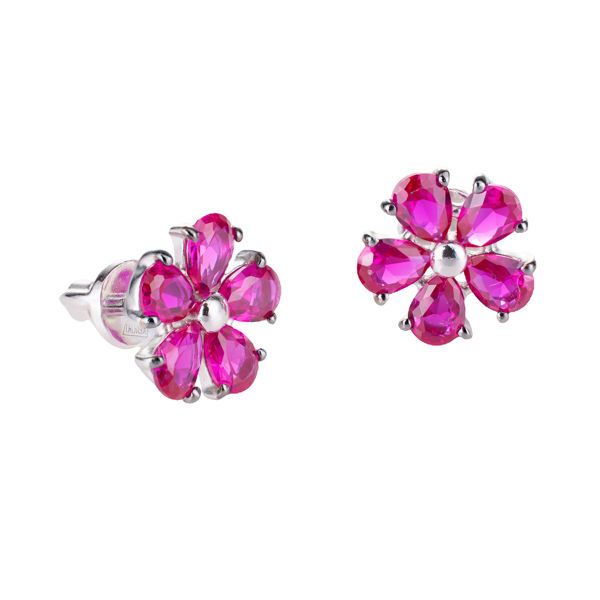 Sterling Silver Lab Created Ruby Screw Back Carnation Earrings