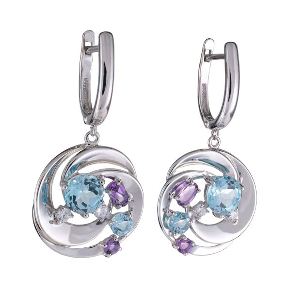 Sterling Silver Amethyst Sky Blue Topaz and Cubic Zirconia Dangle English Lock Earrings