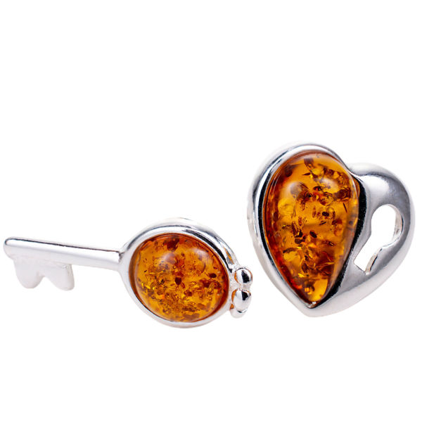 Sterling Silver and Baltic  Amber Heart and Key Earrings