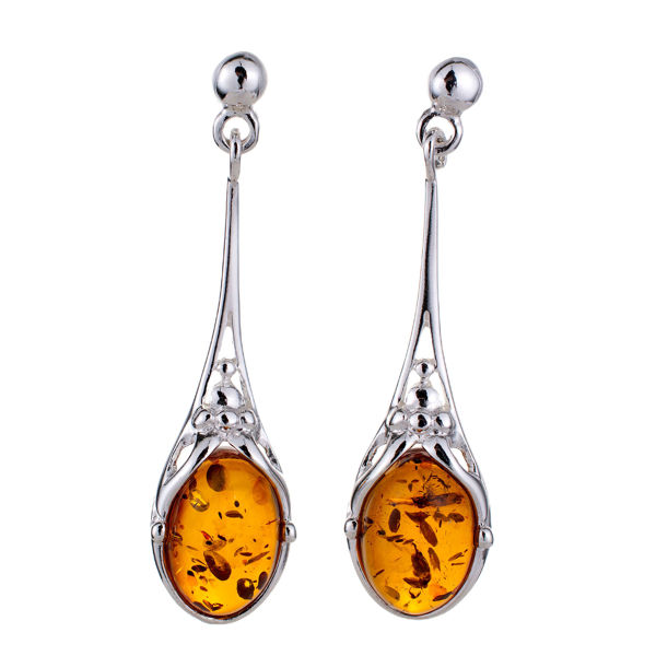 """Sterling Silver and Baltic Honey Amber Earrings """"Maggie"""""""