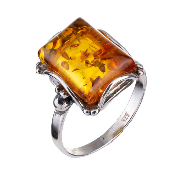 """Sterling Silver and Baltic Honey Amber Rectangle Ring """"Makell"""""""