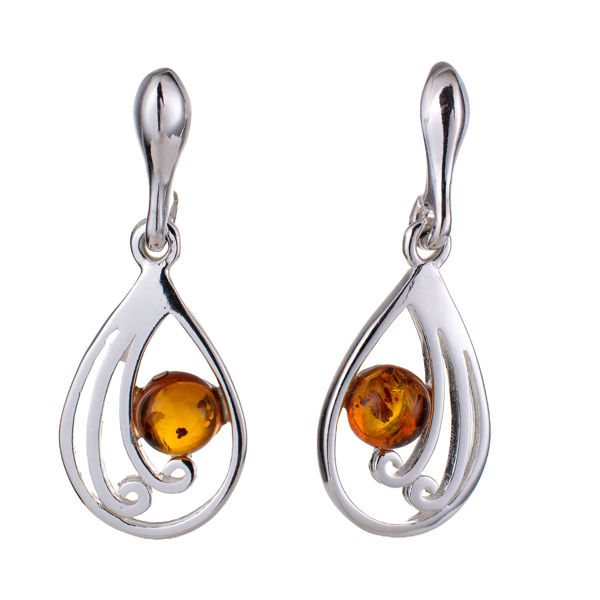 "Sterling Silver and Baltic Honey Amber Earrings ""Lydia"""