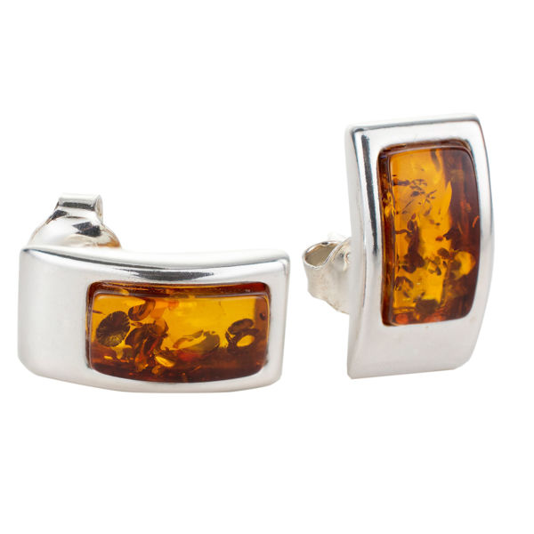 "Sterling Silver and Baltic Amber Earrings ""Karina"""