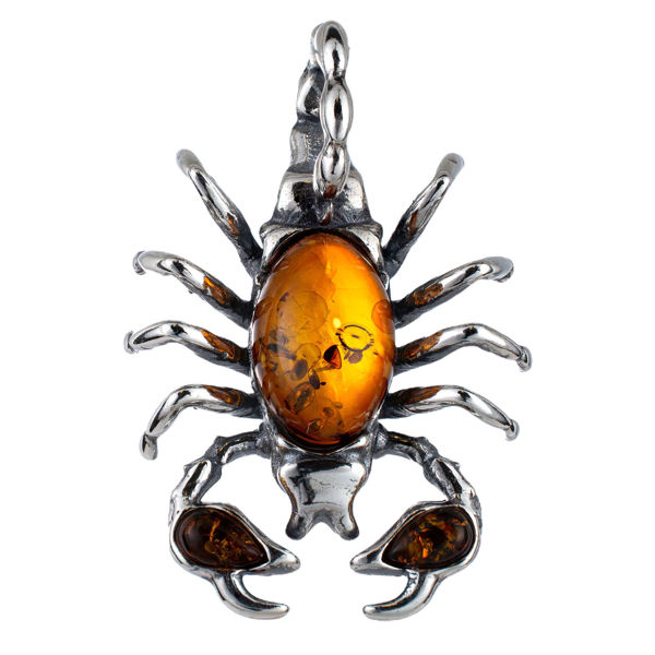 Sterling Silver and Baltic Amber Scorpion Pendant