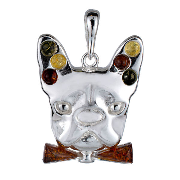 Sterling Silver and Baltic Amber French Bulldog Pendant
