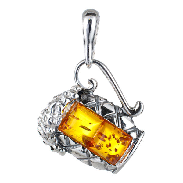 Sterling Silver and Baltic Amber Beer Pint Pendant