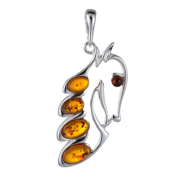 Sterling Silver and Baltic Amber Horse Pendant