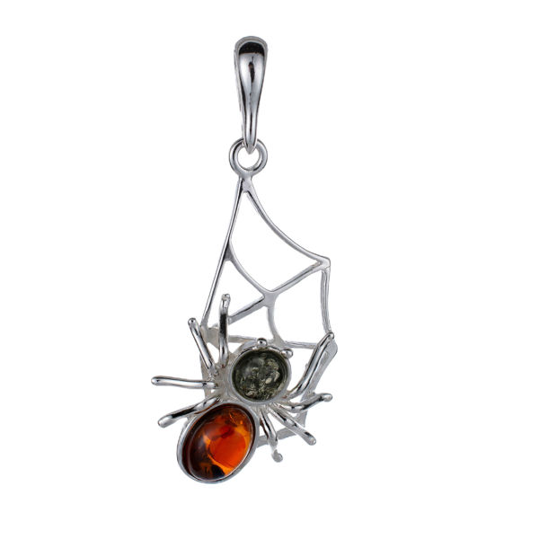 Sterling Silver and Baltic Amber Spider On Web Pendant