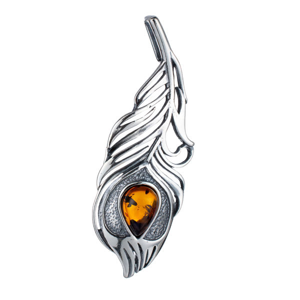 Sterling Silver and Baltic Amber Peacock Feather Pendant