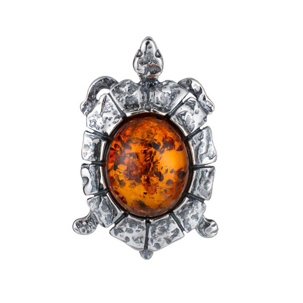 Sterling Silver and Baltic Amber Turtle Pendant