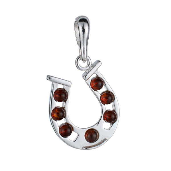 Sterling Silver and Baltic Amber Horseshoe Pendant