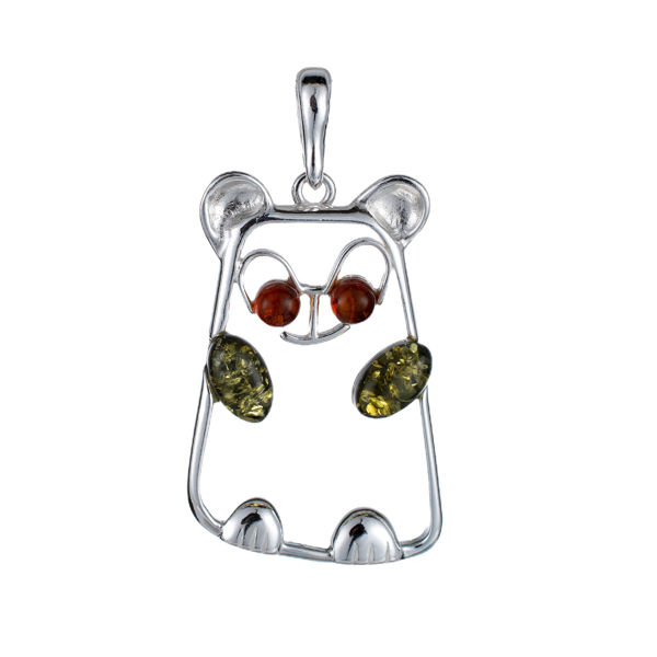 Sterling Silver and Baltic Amber Panda Pendant