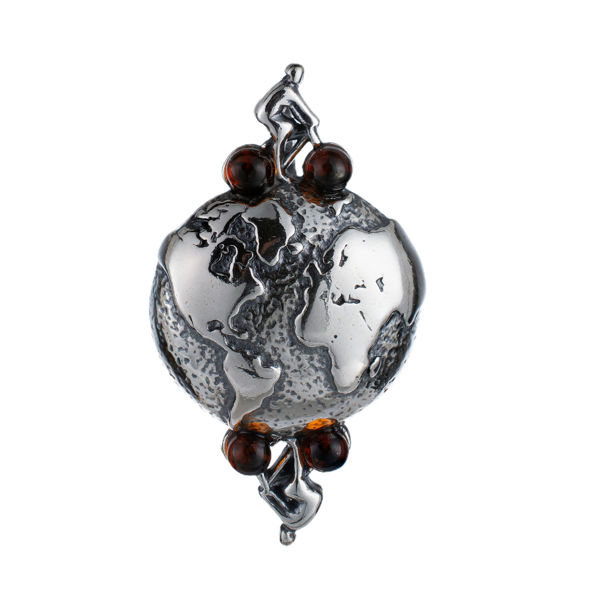 Sterling Silver and Baltic Amber Globetrotter On Bike Pendant