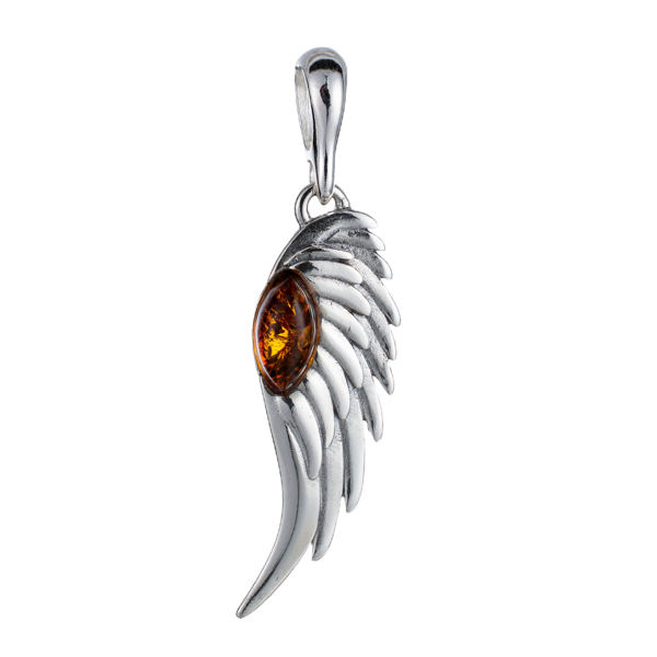 Sterling Silver and Baltic Amber Angel Wing Pendant