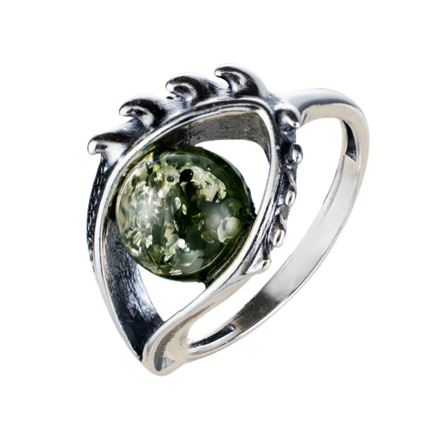 Sterling Silver and Baltic Green  Amber Eye Ring