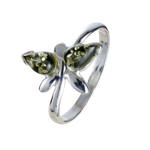 Sterling Silver and Baltic Green  Amber Butterfly Ring