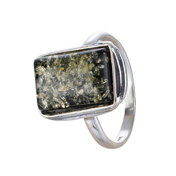 """Sterling Silver and Baltic Green Amber Ring """"Cora"""""""