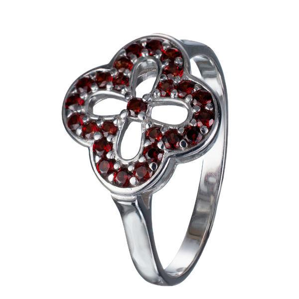 Bohemian Garnet Sterling Silver Four Leaf Clover Ring