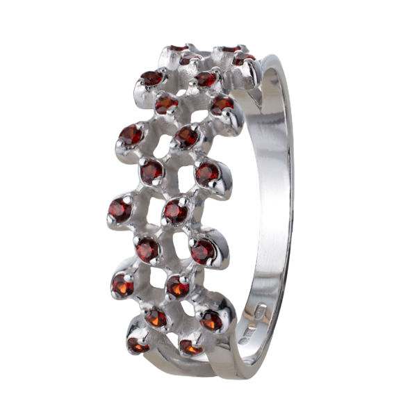Bohemian Garnet Vine Sterling Silver Rhodium Plated Ring