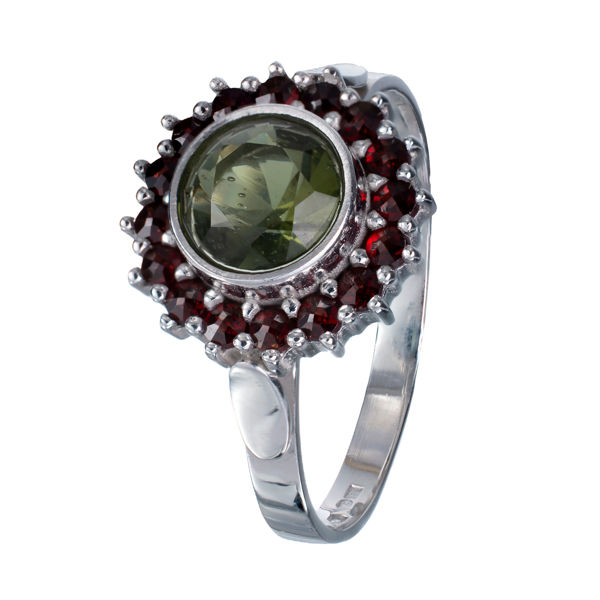 Bohemian Garnet Round Moldavite Ring