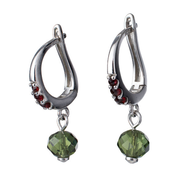 Bohemian Garnet And Moldavite Sterling Silver English Lock Earrings