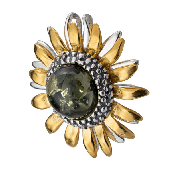 Gold Plated Sterling Silver and Baltic Green Amber Sunflower Pendant