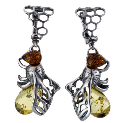 Sterling Silver and Baltic Amber English Lock Bumblebee Earrings