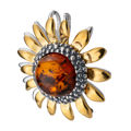 Gold Plated Sterling Silver and Baltic Honey Amber Sunflower Pendant