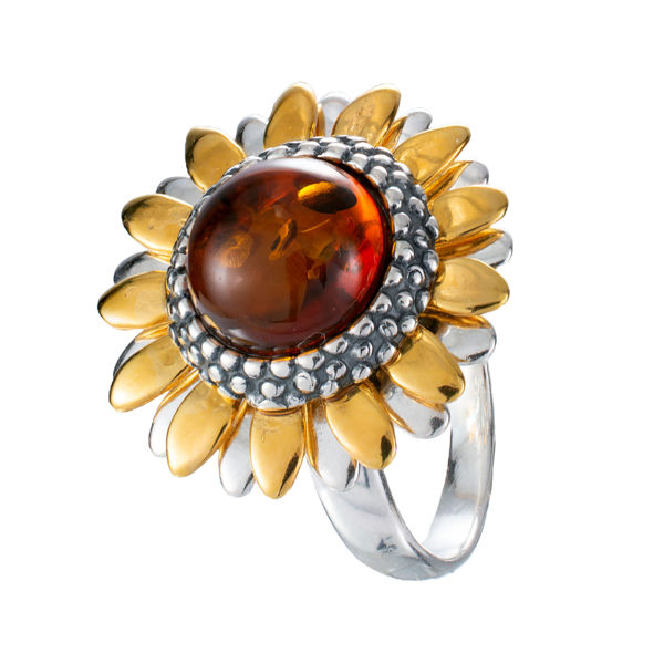 Gold Plated Sterling Silver and Baltic Honey Amber Sunflower Ring