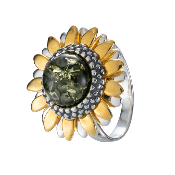 Gold Plated Sterling Silver and Baltic Green Amber Sunflower Ring