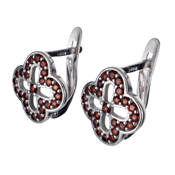 Bohemian Garnet English Lock Four Leaf Clover Earrings