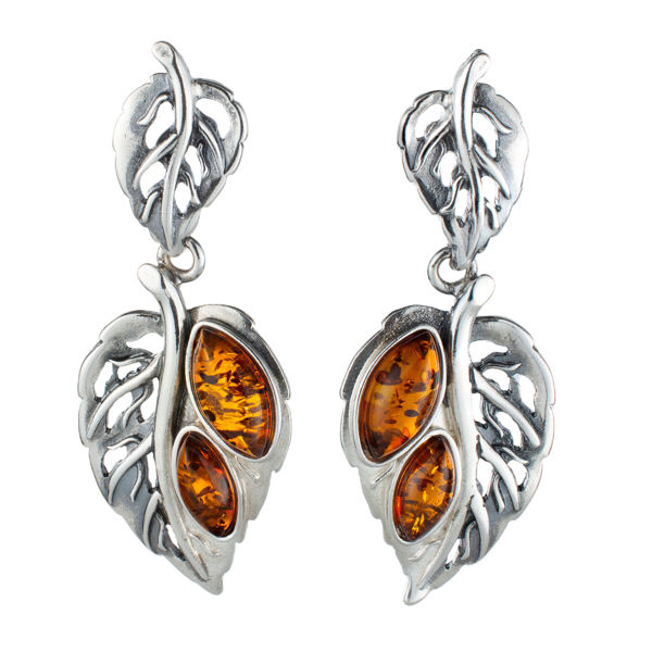 Sterling Silver and Baltic Honey Amber Post Back Leaf Earrings