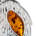 Sterling Silver and Baltic Honey and Green Amber Post Back Leaf Earrings