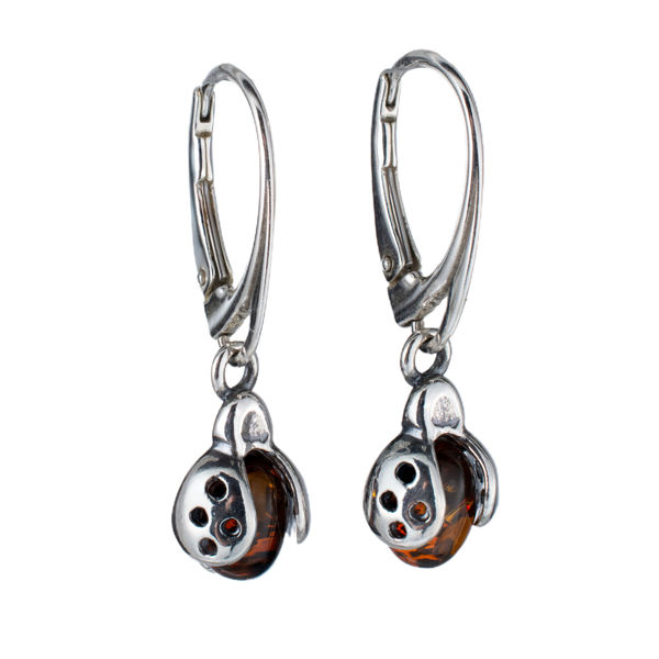 Sterling Silver and Baltic Honey Amber French Leverback Ladybug Earrings