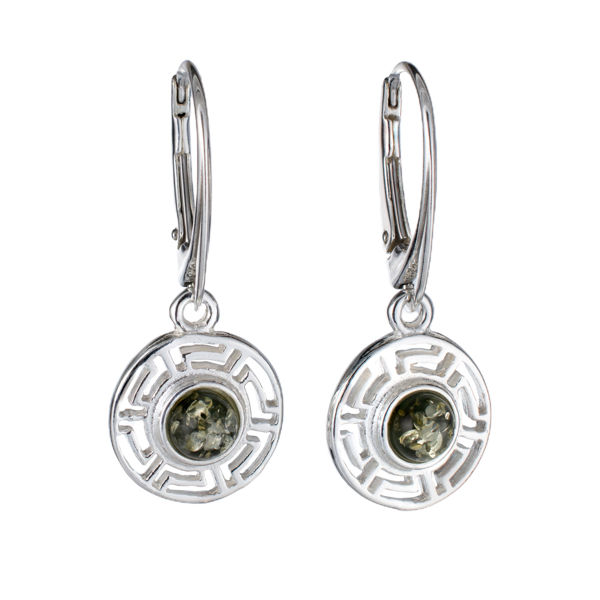 Sterling Silver and Baltic Green Amber French Leverback Earrings