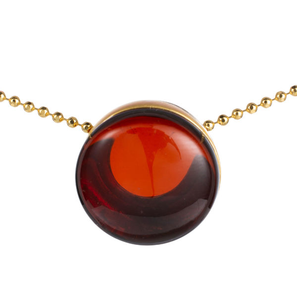 Gold Plated 925 Sterling Silver Cherry Baltic Round Amber Pendant