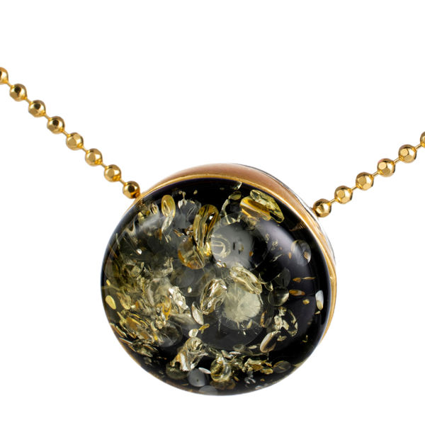 Gold Plated 925 Sterling Silver Green Baltic Round Amber Pendant