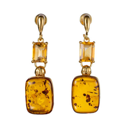 Gold Plated 925 Sterling Silver Honey Baltic Amber and Citrine Earrings