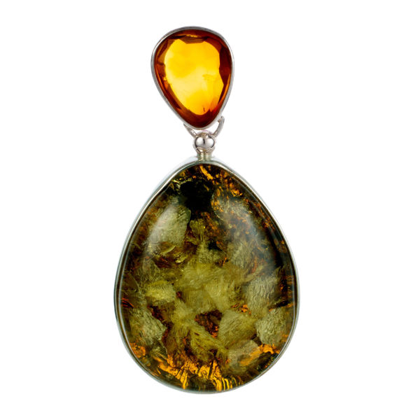 Sterling Silver Green Baltic Pear Shaped Amber Pendant