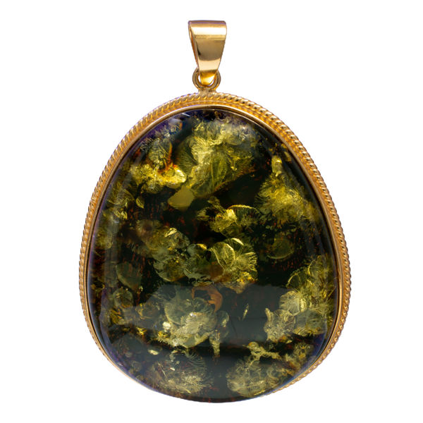 Gold Plated 925 Sterling Silver Green Pear Shaped Baltic  Amber Pendant