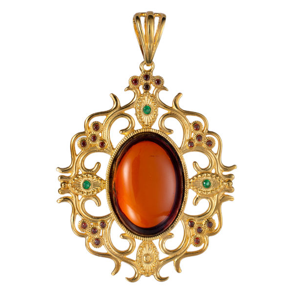 Gold Plated 925 Sterling Silver and Oval Baltic Cherry Amber Pendant