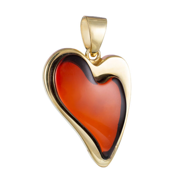 Gold Plated 925 Sterling Silver Cherry Baltic Heart Amber Pendant