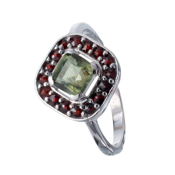 Bohemian Garnet Moldavite Rhombus Ring