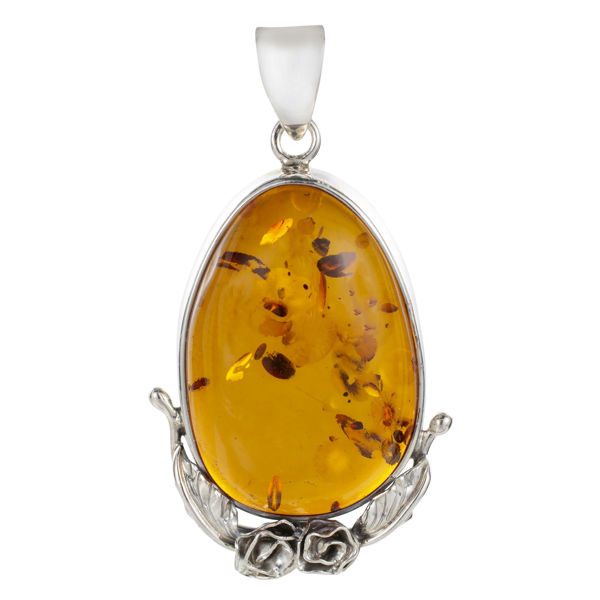Sterling Silver and Pear Shaped Baltic  Honey Amber Pendant