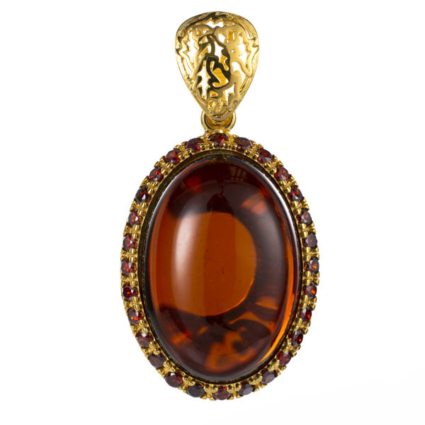 Gold Plated 925 Sterling Silver and Oval Baltic Cherry Amber and Cubic Zirconia Pendant