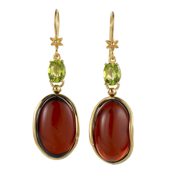 Gold Plated 925 Sterling Silver Cherry Baltic Amber Dangle Earrings