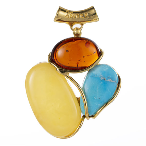 Gold Plated 925 Sterling Silver Butterscotch, Cherry and Turquoise Baltic Amber Pendant